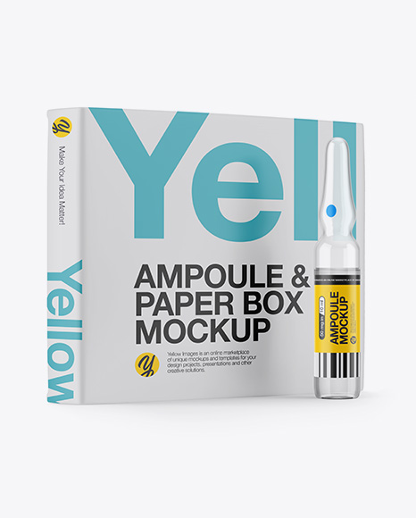 Download Clear Glass Ampoule & Box Mockup Object Mockups