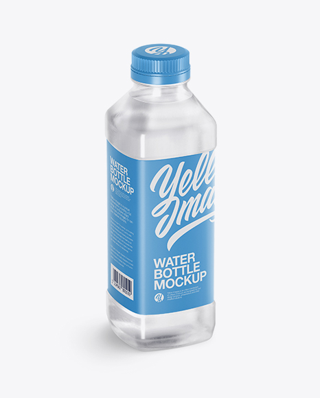 Download Free Clear PET Water Bottle Mockup - Half Side View (High-Angle Shot) PSD Template