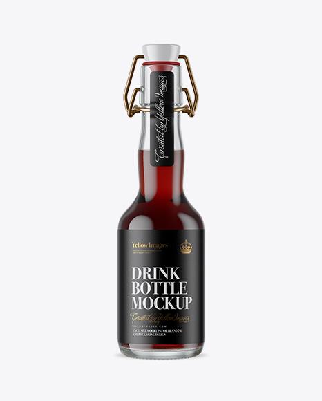 Download Clear Glass Beugel Red Drink Bottle Mockup Object Mockups
