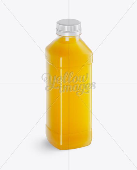 Clear PET Orange Juice Bottle Mockup - Half Side View (High-Angle Shot)