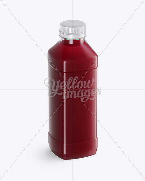Clear PET Cherry Juice Bottle Mockup - Half Side View (High-Angle Shot)