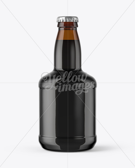 330ml Amber Glass Stout Beer Bottle with Foil Mockup