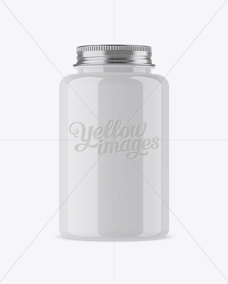Glossy Plastic Bottle With Pills Mockup