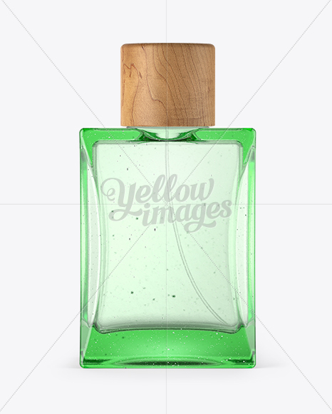 Perfume Bottle with Wooden Cap Mockup