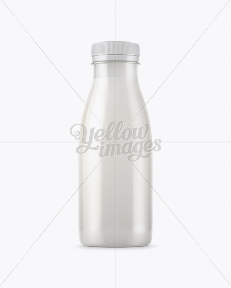 Glossy Plastic Dairy Bottle With Paper Label Mockup