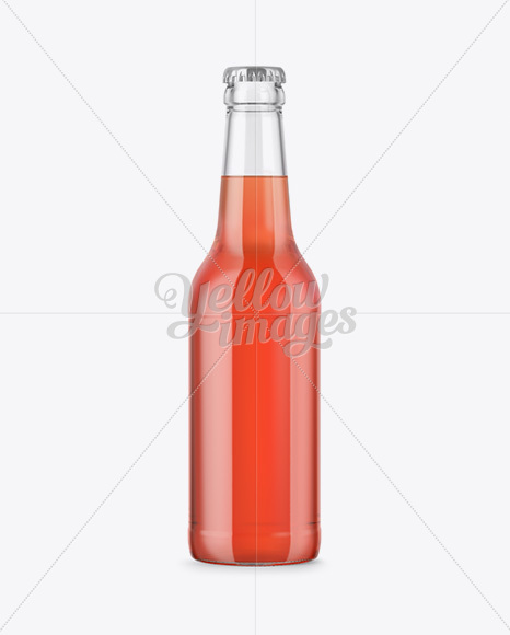330ml Clear Glass Bottle with Red Drink Mockup