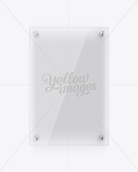 Vertical Glass Nameplate Mockup Front View In Object Mockups