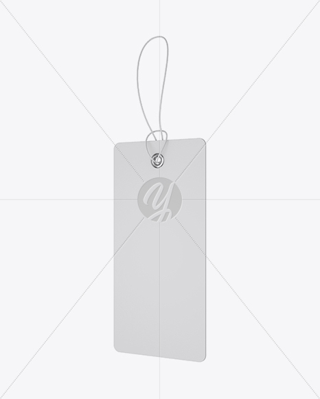 Textured Paper Label W/ Round Corners & Rope Mockup - Half Side View