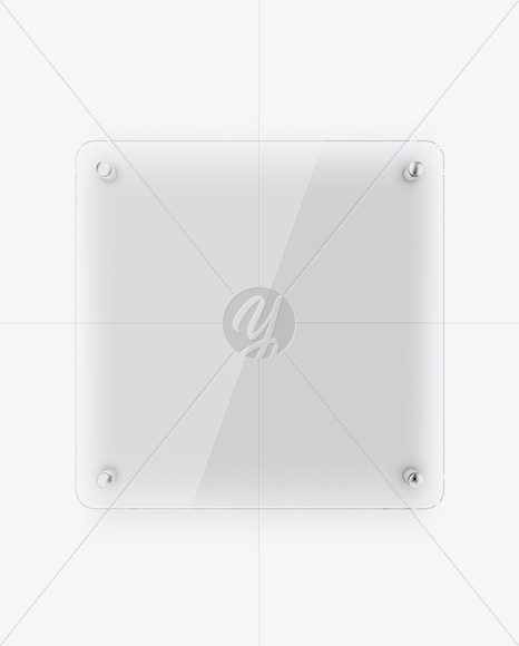 Square Glass Nameplate W/ Round Corners Mockup - Front View
