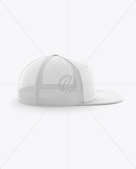 Trucker Cap with Flat Visor Mockup - Side View