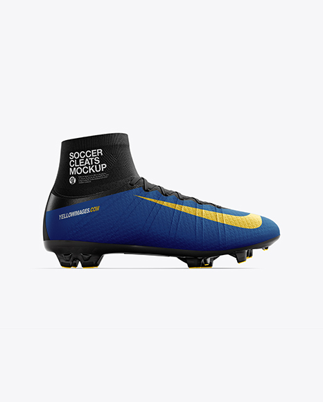 Cuffed Soccer Cleat mockup (Side View)