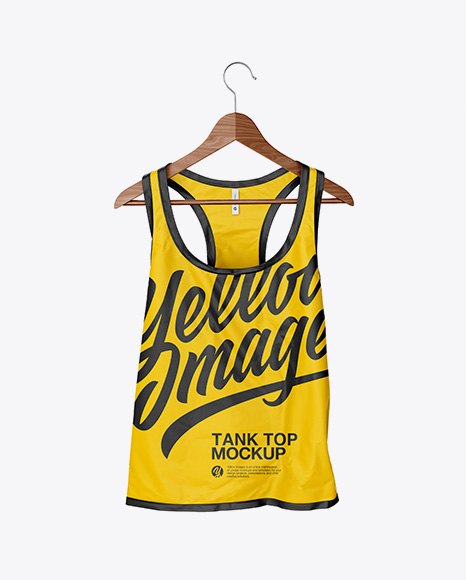 Download Free ?rumpled Tank Top On Hanger Mockup PSD Template