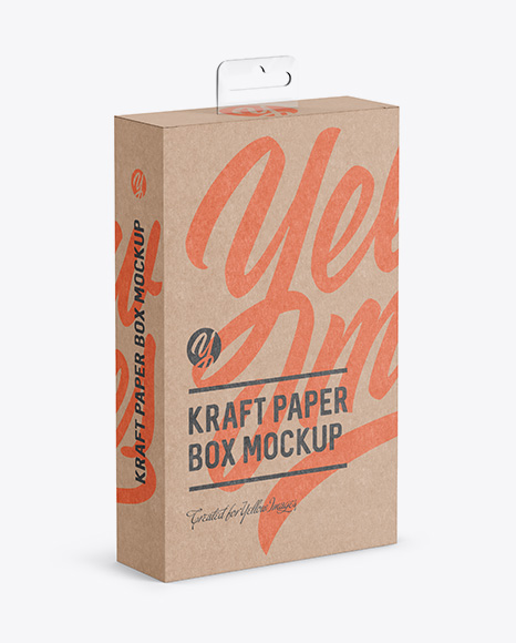 Download Kraft Paper Box with Hang Tab Mockup - Half Side View (high-angle shot) Object Mockups