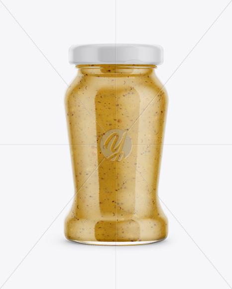 120g Glass Jar in Shrink Sleeve with Mustard Mockup