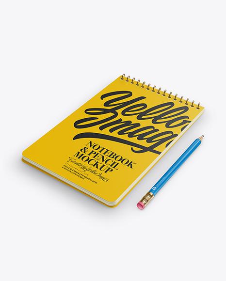 Download Notebook & Pencil Mockup - Half Side View (High Angle Shot) Object Mockups