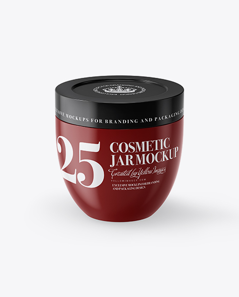 Download Glossy Cosmetic Jar Mockup (High-Angle Shot) Object Mockups