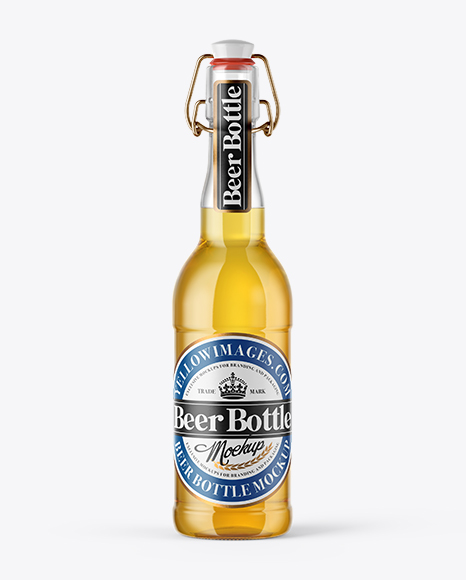 500ml Lager Beer Bottle With Swing Top Mockup