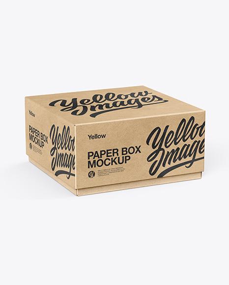 Download Kraft Paper Box Mockup - Half Side View (High-Angle Shot) Object Mockups
