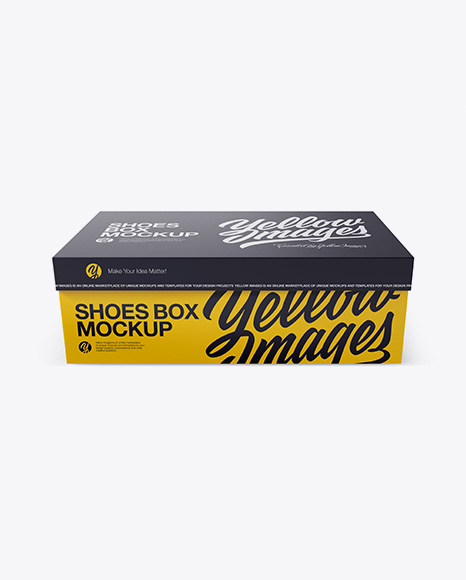Download Shoes Box Mockup - Front View (High-Angle Shot) Object Mockups