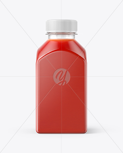 Square Tomato Juice Bottle Mockup