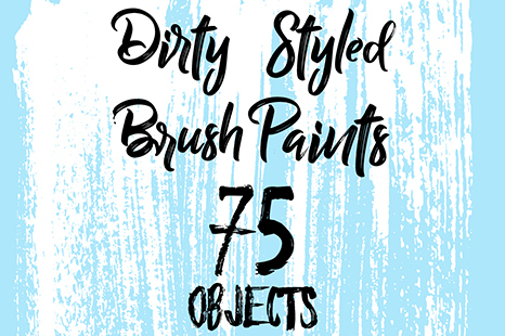 75 Hand Crafted Dirty Brush Paints (Vector brushes for Adobe