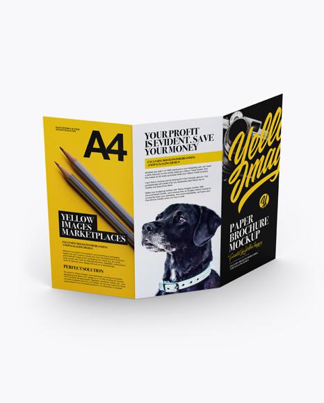 Download A4 Brochure Mockup - High-Angle Shot Object Mockups