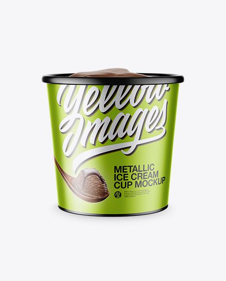 Download Metallic Ice Cream Cup Mockup Object Mockups