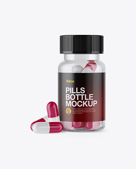 Download Clear Bottle With Pills Mockup In Bottle Mockups On Yellow Images Object Mockups PSD Mockup Templates