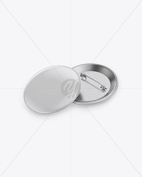 Two Button Pins Mockup - Half Side View (High Angle Shot)