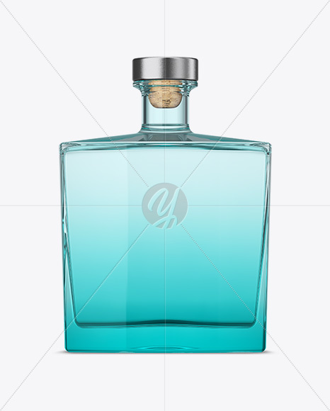 Square Blue Glass Bottle Mockup