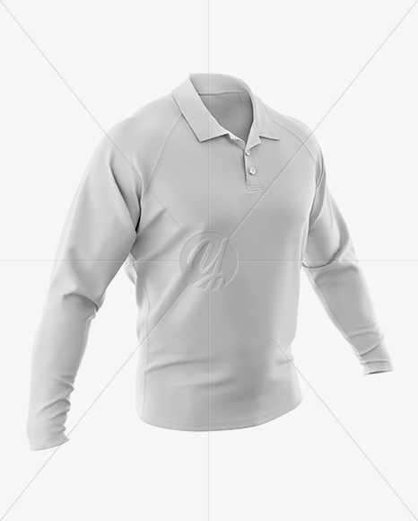 Download Mens Long Sleeve Polo Shirt Back Half Side View Yellowimages