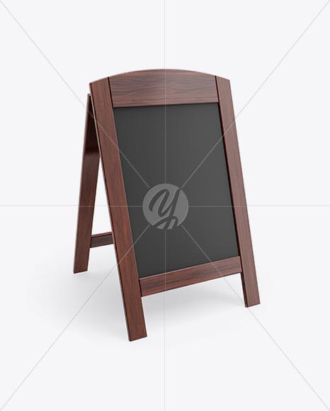 Wooden Street Menu Board Mockup - Half-Side View in ...