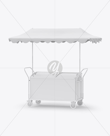 Ice Cream Fridge With Awning Mockup - Half-Side View
