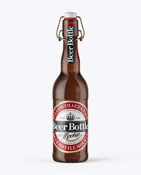 Download Free 500ml Amber Beer Bottle With Swing Top Mockup PSD Template