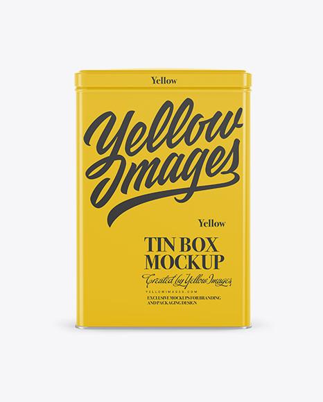 Glossy Tin Box Mockup - Front View
