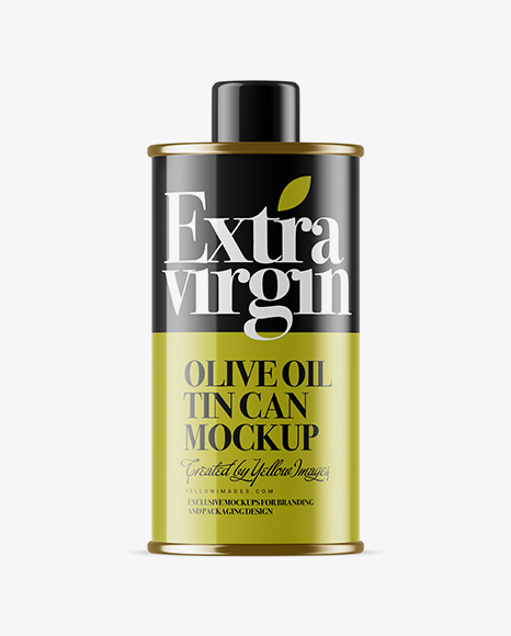 Download Glossy Olive Oil Tin Can w/ Cap Mockup Object Mockups
