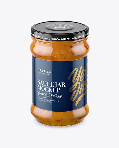 Download Clear Glass Jar with Sweet & Sour Sauce Mockup (High-Angle Shot) Object Mockups