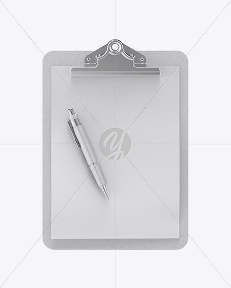 Carton Clipboard W/ Pen Mockup