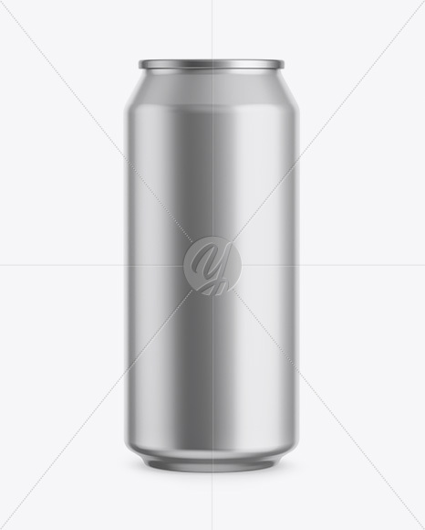 440ml Metallic Aluminium Can Mockup - Front View (Eye-Level Shot)