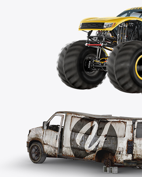 Monster Truck Flying Over Cars Mockup