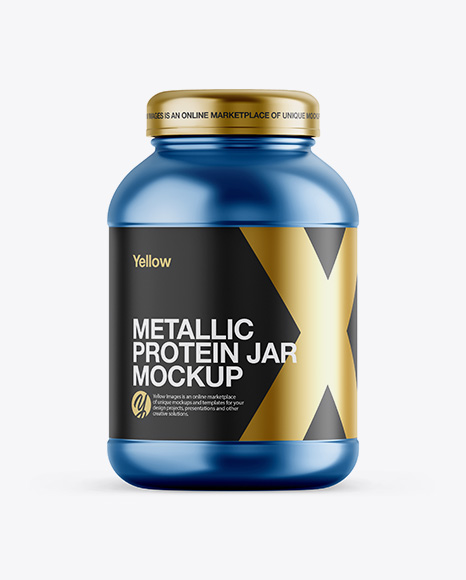 Metallic Protein Jar Mockup - Front View