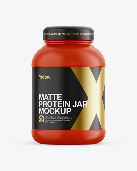 Matte Plastic Protein Jar Mockup - Front View