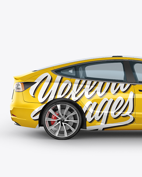 Download Tesla Model 3 Mockup - Side View Object Mockups