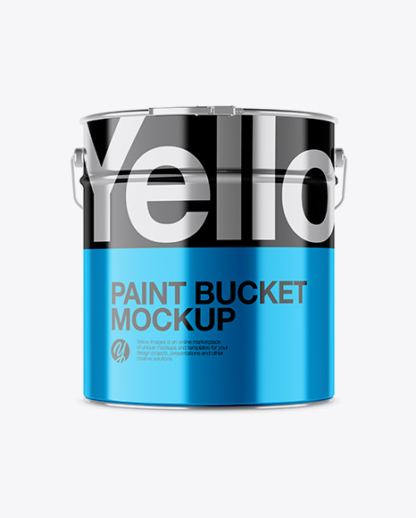 Download Metallic Paint Bucket Mockup - Front View Object Mockups