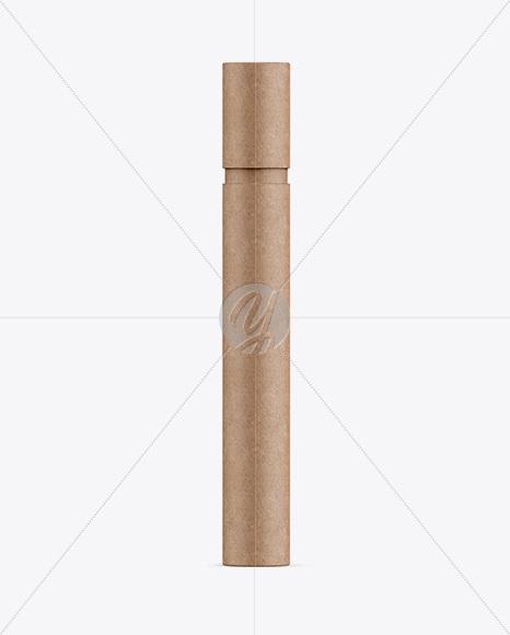 Long Kraft Paper Tube Mockup Front View