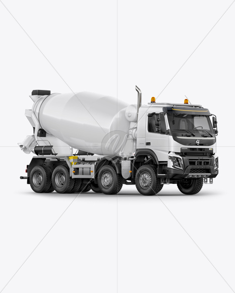 Volvo Mixer Truck Mockup - Right Half Side View