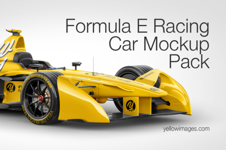 Download Formula E Racing Car 2016 Mockup Pack In Handpicked Sets Of Vehicles On Yellow Images Creative Store PSD Mockup Templates