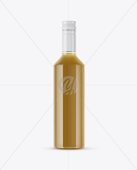 Glass Bottle With Yellow Organic Oil Mockup