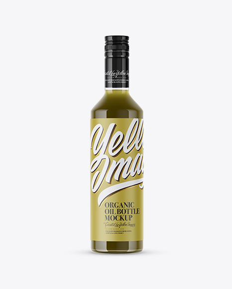 Glass Bottle With Green Organic Oil Mockup