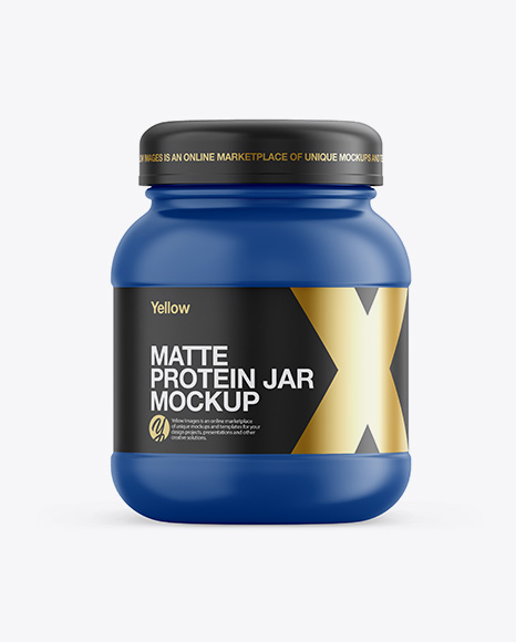 Download Free Matte Plastic Protein Jar Mockup - Front View PSD Template